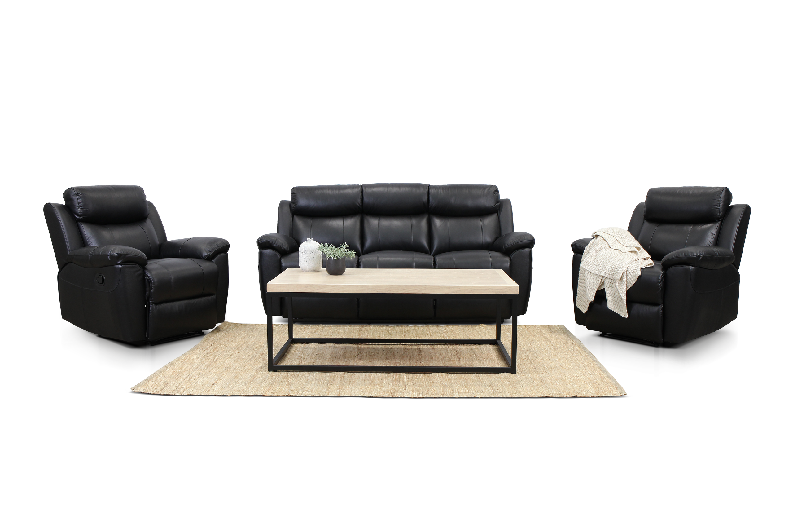 New bella black leather sofa suite