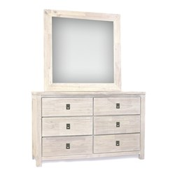 Florida Brushed White Dresser & Mirror