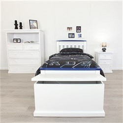 Rainbow Blue & White King Single Bed