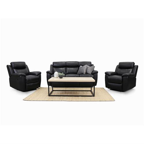 3 Piece Bella Black Leather Lounge Suite