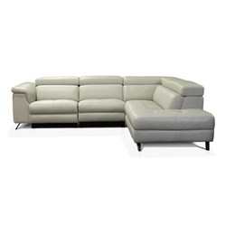 Vicenza + Light Grey Leather 4 Seater Left Corner Sofa