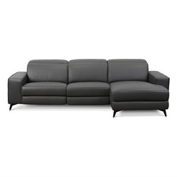 Valentina Dark Grey Leather 3 Seater Left Chaise