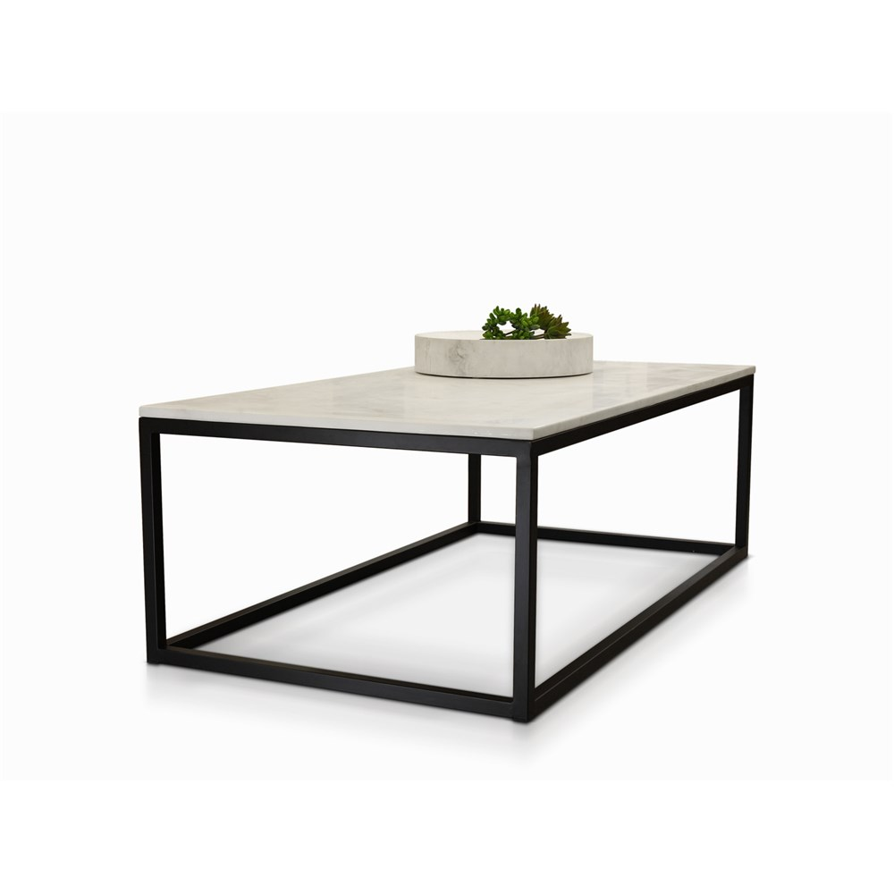 Byron Coffee Table Black With White Faux Marble