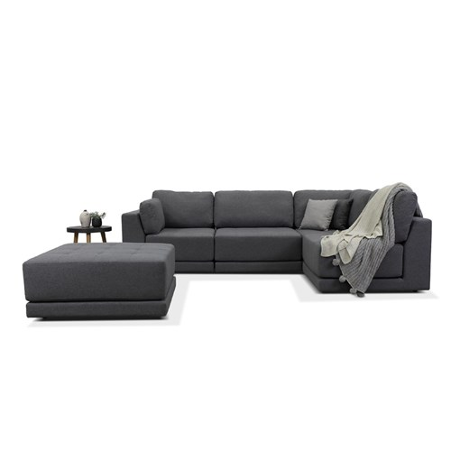 Hampton Charcoal Grey 4 Seater Corner Sofa & Ottoman